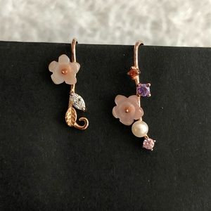 Jewelry - Sterling Silver Earrings with Rose Gold Plating